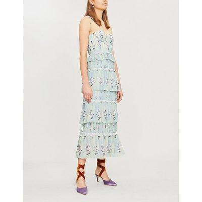 Tiered floral-lace chiffon midi dress