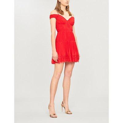 Off-the-shoulder V-neck crepe dress