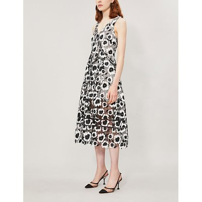 Abstract floral-print sleeveless crepe dress