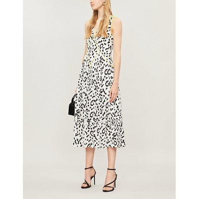 Leopard-print sleeveless crepe dress