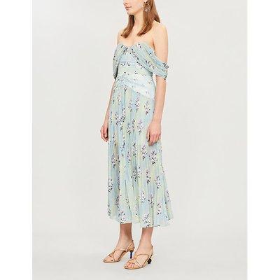 Off-the-shoulder floral-print pleated chiffon midi dress