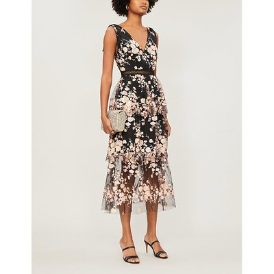 Tiered sequinned floral mesh midi dress