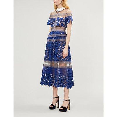 Liliana panelled lace midi dress