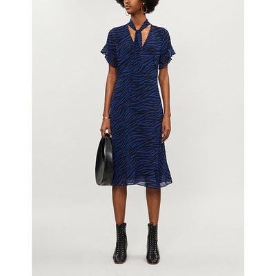 Michael Kors Black Twilight Blue Tiger Print Crepe Midi Dress