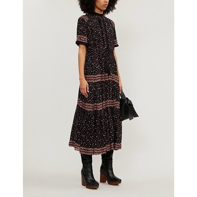 Rare Feeling high-neck floral-print woven midi dress