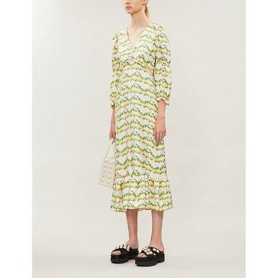 Rosemary graphic-print silk midi dress