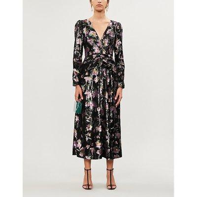 Self-Portrait Floral-pattern sequinned midi dress