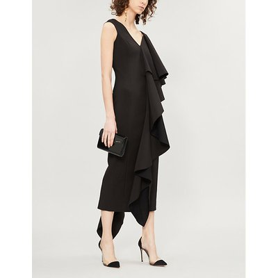 Alora ruffled asymmetric crepe dress