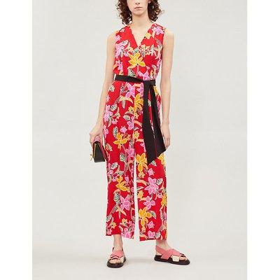 Belted floral-print silk-crepe straight-leg jumpsuit