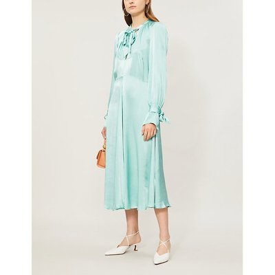 Cecila tied-neck satin flared midi dress
