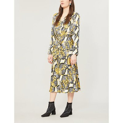 Meryl snakeskin-print flared satin wrap dress