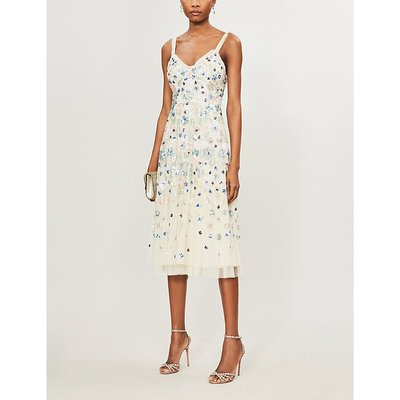Wildflower embellished sequin and tulle midi dress