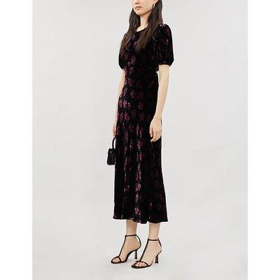 Daisy floral-print velvet maxi dress