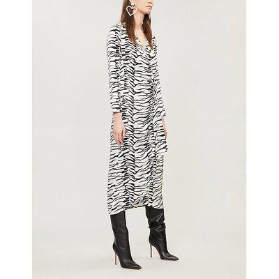 RIXO Ladies White and Black Zebra-Print Crepe Wrap Dress