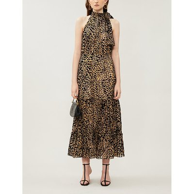 Eleanor leopard-print velvet midi dress