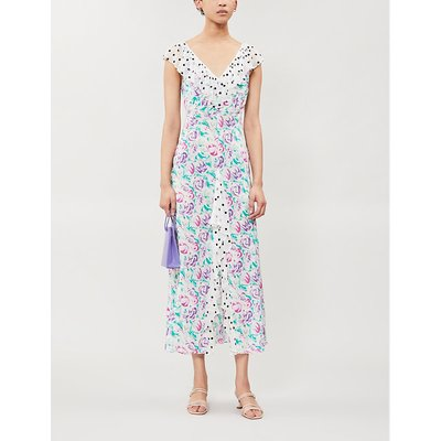 Antoinette ruffled-trim floral-print crepe maxi dress