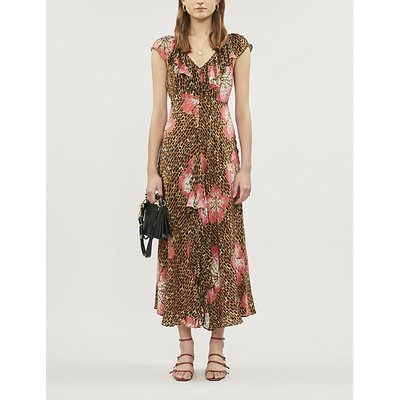 Antoinette printed ruffled-trim silk-blend midi dress