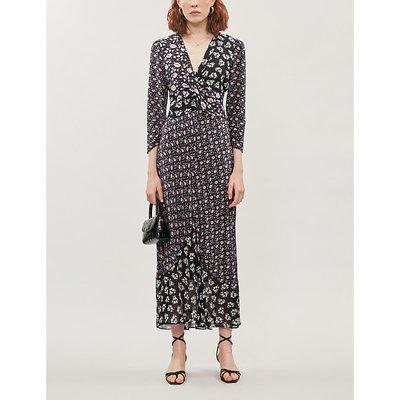 Chelsea floral print-panelled silk-crepe midi dress