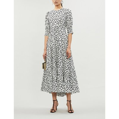Agyness polka-dot cotton and silk-blend maxi dress