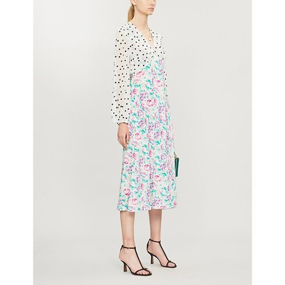 Melanie contrast-panel silk midi dress