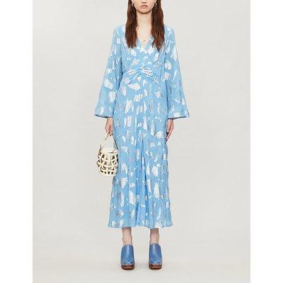Indra jacquard leaves-pattern silk-blend midi dress