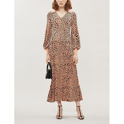 Piper leopard-print silk-blend midi dress