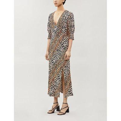 Carmen leopard-print crepe midi dress