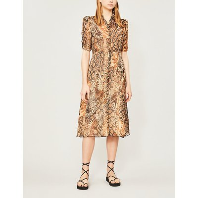 Rozy snakeskin-print chiffon midi dress