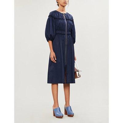 Puffed-sleeve A-line poplin midi dress