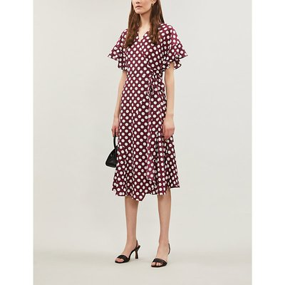 Eliana polka dot-print crepe wrap dress