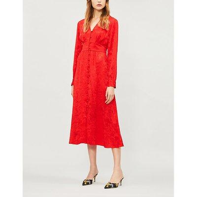 Clementine satin jacquard midi dress