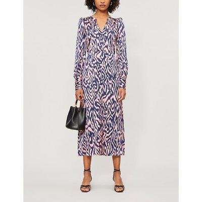 Mindy abstract-pattern stretch-silk midi dress