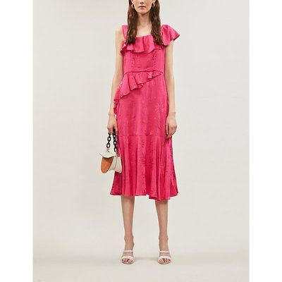 Roxanne embroidered frilled crepe midi dress
