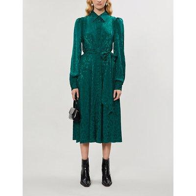Alicia leopard-print crepe midi dress