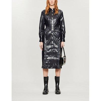 KITRI Charlie croc-embossed faux-leather midi dress