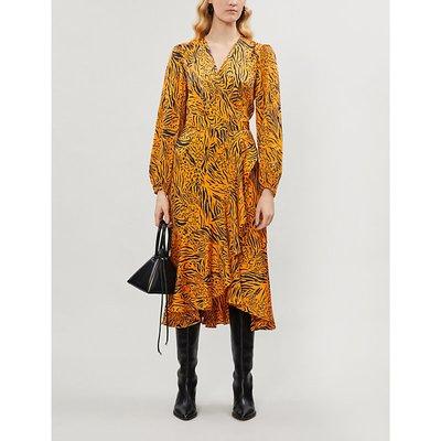 Anissa checked wrap over woven midi dress
