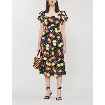 Alora fruit-print crepe dress