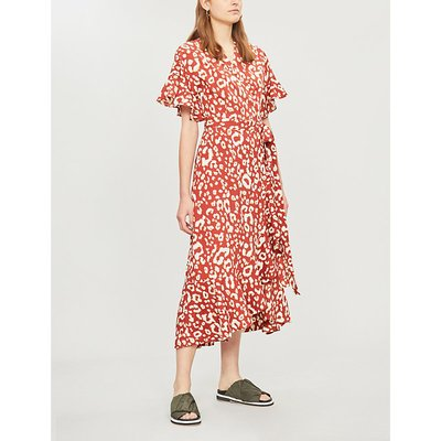 Freya fruit-print V-neck crepe midi dress
