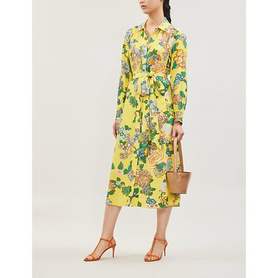 Henley floral-print crepe midi shirt dress