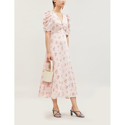 Serafina floral-print satin midi dress