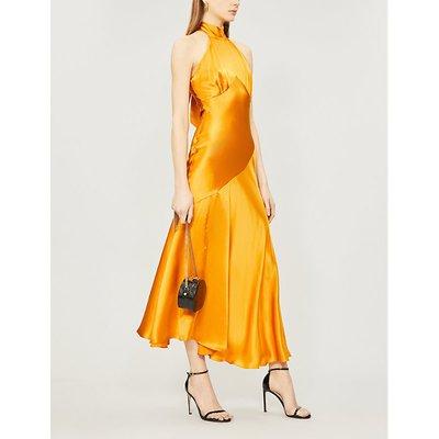 Vivienne halterneck asymmetric silk-satin midi dress