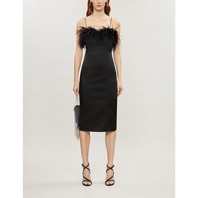 Veronica Beard Black Lilya Feather Satin Midi Dress