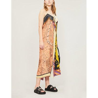 Talita map-print satin midi dress