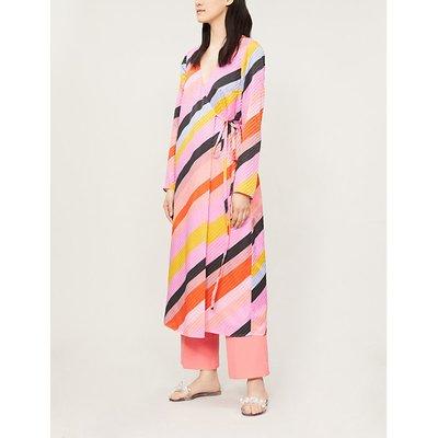 Paisley striped silk midi wrap dress
