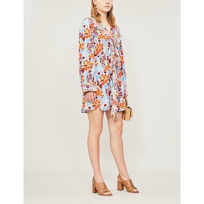 Skylar daffodil-print silk-crepe dress