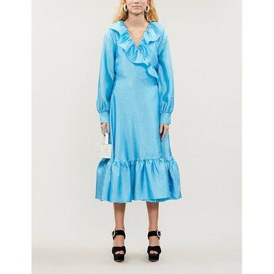 Steffi ruffled-trim metallic midi dress