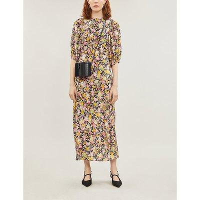 Les Reveries Puff-Sleeve Floral-Print Silk Midi Dress