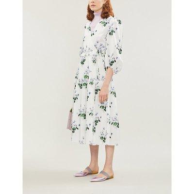 Les Reveries Puff-Sleeve Floral-Print Cotton Midi Wrap Dress