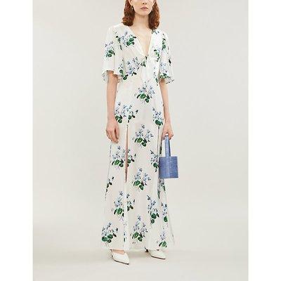 Split-hem floral-print silk crepe de chine maxi dress