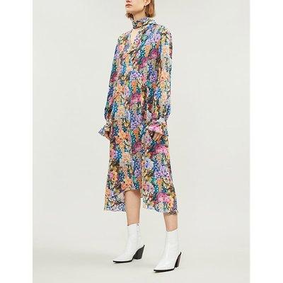 V-neck floral-print silk-crepe midi dress